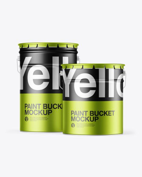 Two Matte Metallic Paint Buckets Mockup