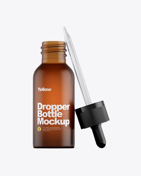 Frosted Amber Glass Dropper Bottle Mockup