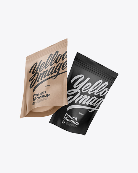 Two Karft Pouches Mockup