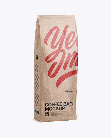 500g Kraft Coffee Bag Mockup - Half Side View