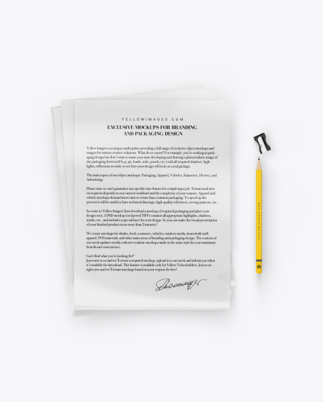 A4 Paper Sheets With Pencil Mockup