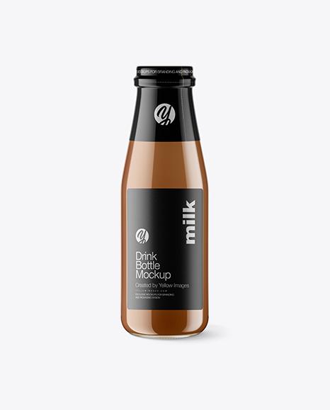 Clear Glass Bottle w/ Chocolate Milk Mockup