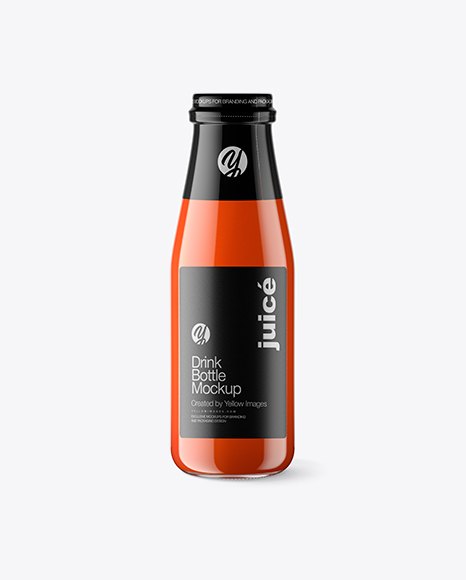Clear Glass Bottle w/ Tomato Juice Mockup