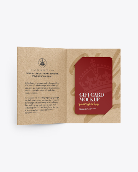 GIft Card w/ Kraft Folder Mockup
