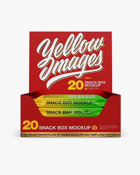 20 Snack Bars Matte Box Mockup