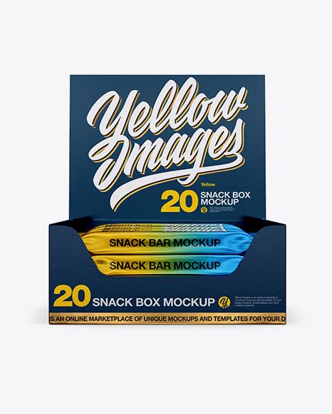 20 Snack Bars Textured Box Mockup