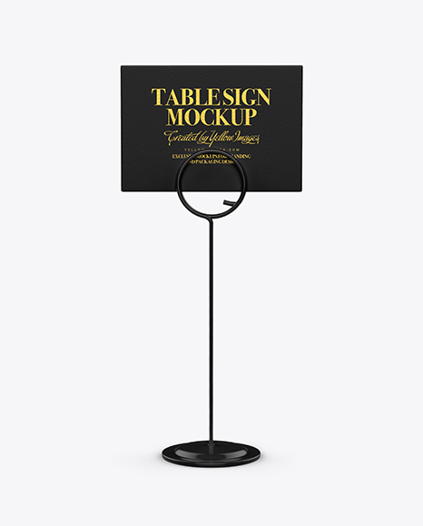 Table Sign W/ Plastic Holder Mockup