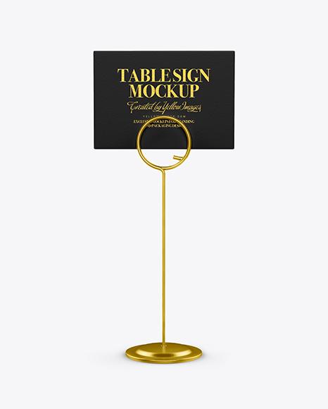 Table Sign W/ Metallic Holder Mockup