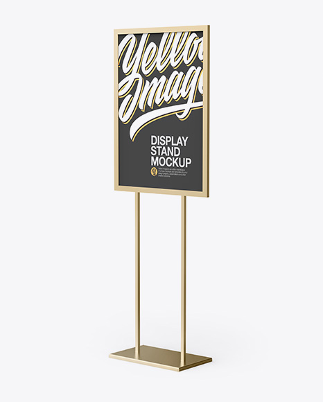 Metallic A1 Display Stand Mockup - Half Side View
