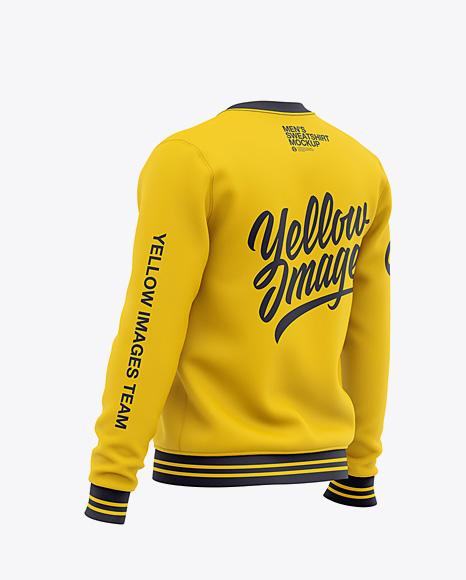 Men's Crew Neck Sweatshirt - Back Half Side View