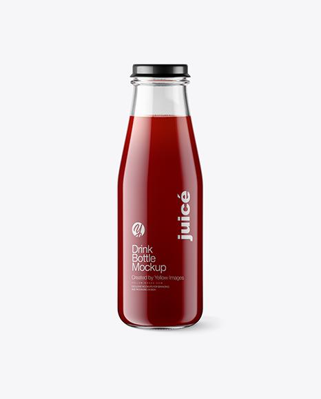Clear Glass Bottle w/ Cherry Juice Mockup