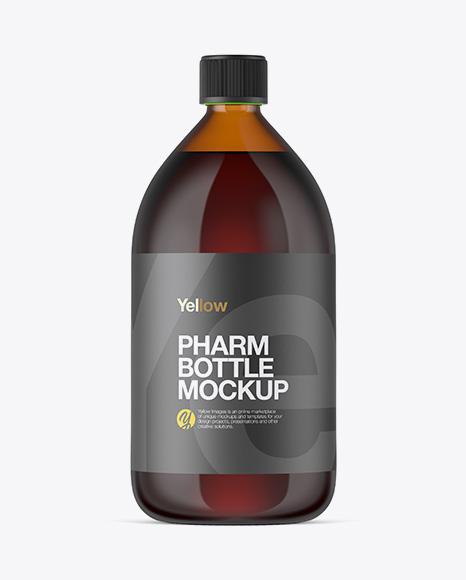 1000ml Amber Glass Bottle Mockup