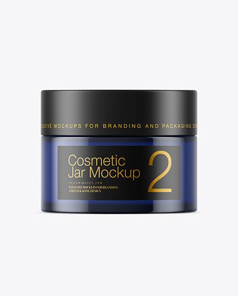 Dark Blue Glass Cosmetic Jar Mockup