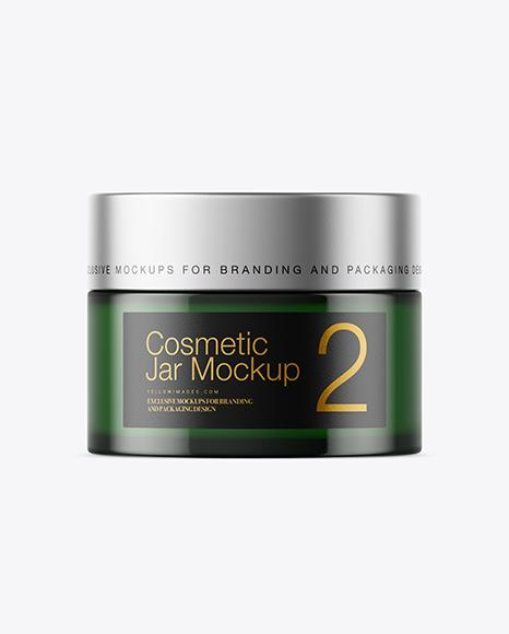 Dark Green Glass Cosmetic Jar Mockup