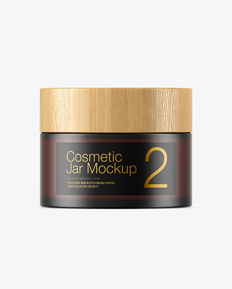Dark Frosted Amber Glass Cosmetic Jar Mockup
