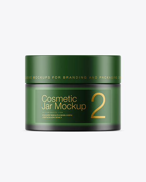 Frosted Green Glass Cosmetic Jar Mockup