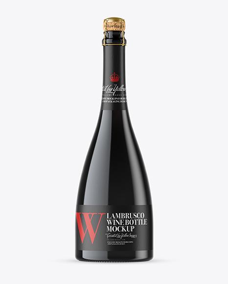 Green Glass Lambrusco Red Wine Bottle Mockup