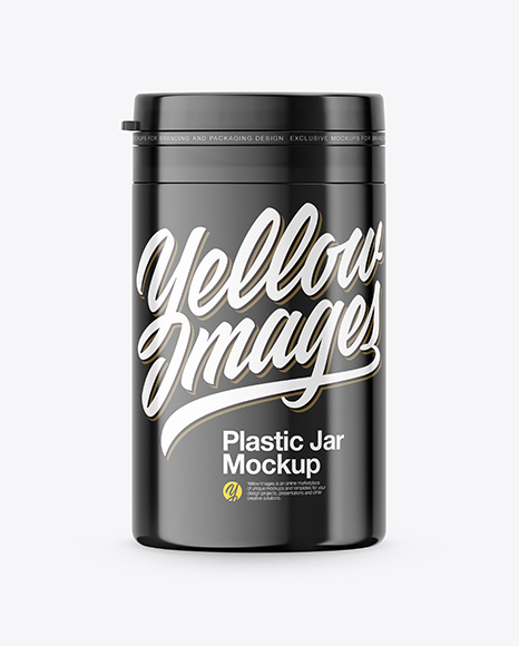 Glossy Plastic Jar Mockup - Front View