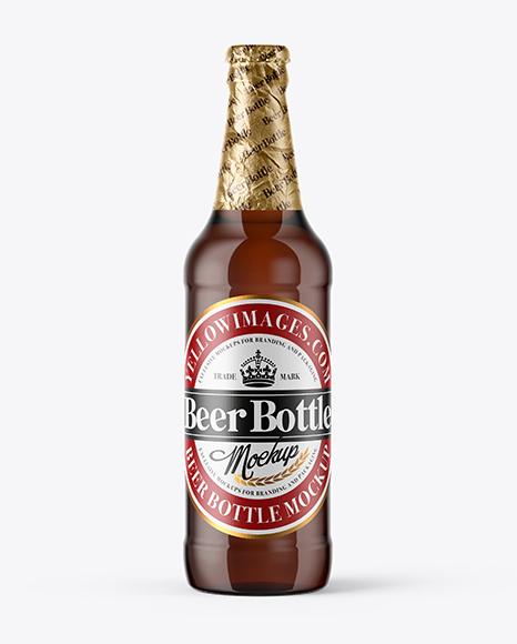 500ml Amber Glass Beer Bottle Mockup