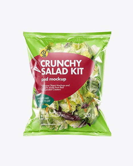 Plastic Bag With Salad Kit Mockup