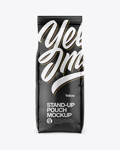 1000g Glossy Coffee Bag Mockup - Front View