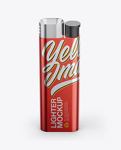 Metallic Lighter Mockup - High-Angle Shot