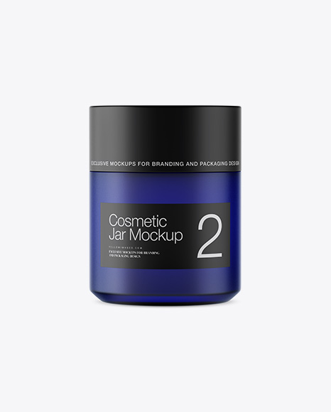 Download Dark Blue Glass Cosmetic Jar Psd Mockup Yellowimages