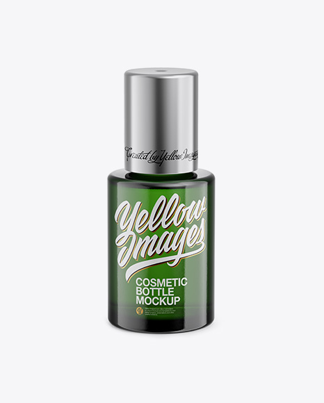 Green Glass Cosmetic Bottle Mockup