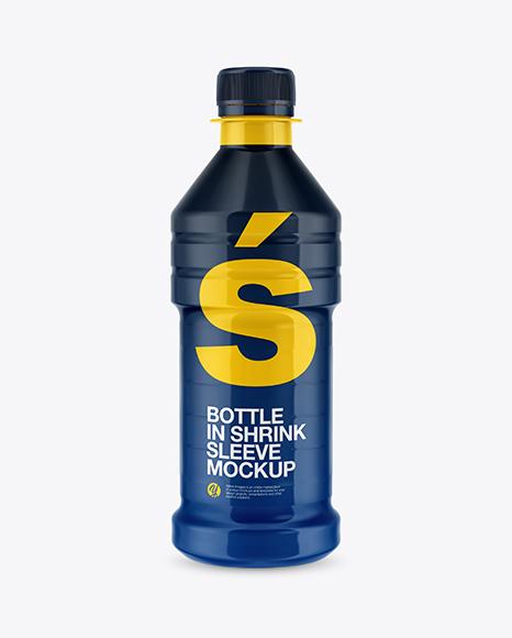 Plastic Bottle with Shrink Sleeve Mockup