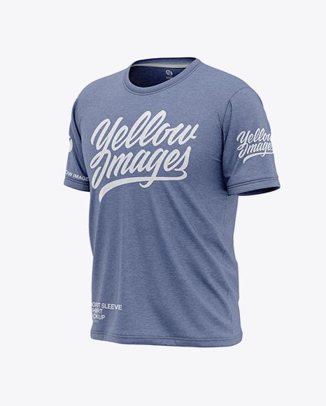 Men's Heather Short Sleeve T-Shirt Mockup - Front Half Side View
