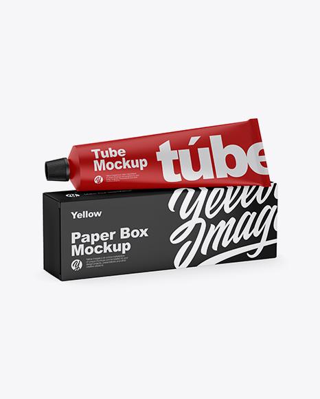 Paper Box w/ Matte Tube Mockup