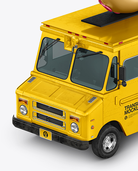 Foodtruck with Donut Mockup - Half Side View (High-Angle Shot)