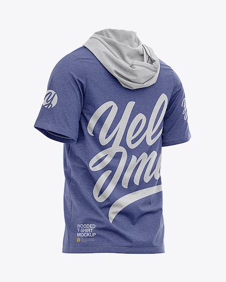 Men's Heather Hooded T-shirt Mockup - Back Half-Side View