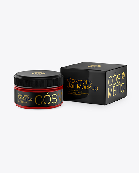 Glossy Cosmetic Jar with Box Mockup
