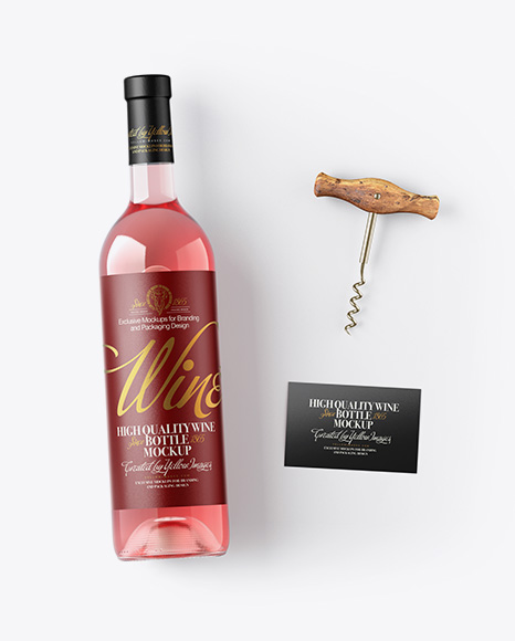 Pink Wine Bottle w/ Corkscrew and Card Mockup