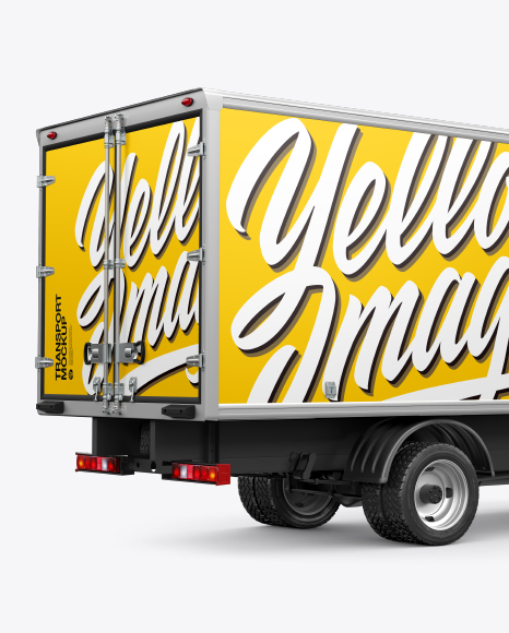Download Box Truck Mockup - Back Half Side View in Vehicle Mockups ...