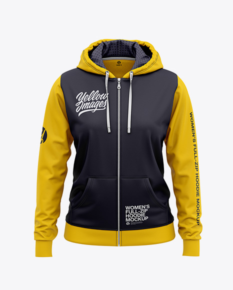 Download Basketball Full Zip Hoodie Mockup Front View Of Hooded Jacket Yellow Images