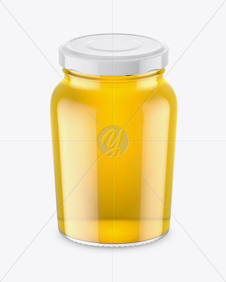 Download Clear Glass Acacia Honey Jar Psd Mockup Yellow Images