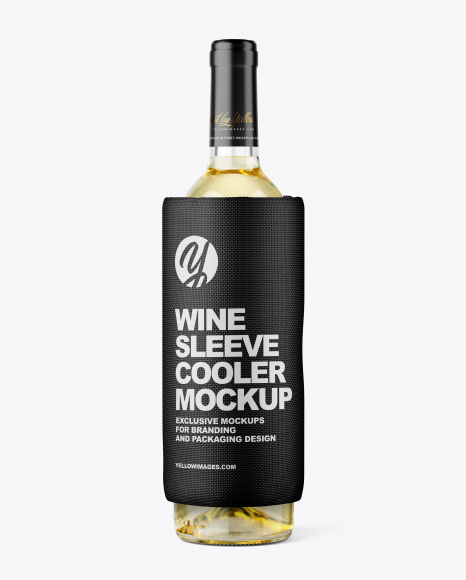 Download Clear White Wine Bottle Glass Psd Mockup Yellow Images