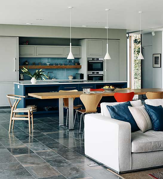 living room open plan designs sample paint colors 20 of the best kitchens homebuilding renovating colour blocking through this large area is essential for feeling movement within a shared space blue toned kitchen conceals