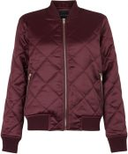 Burgundy Quilted bomber jacket, £12.50, New Look