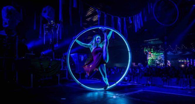 girl in LED hoop