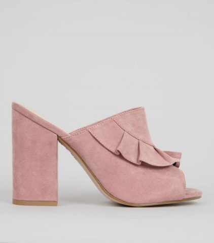 Pink Suedette Frill Trim Heeled Mules, New Look (£27.99)