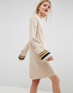 Knitted Dress With Turn Up Cuffs And Tipping, £32, ASOS