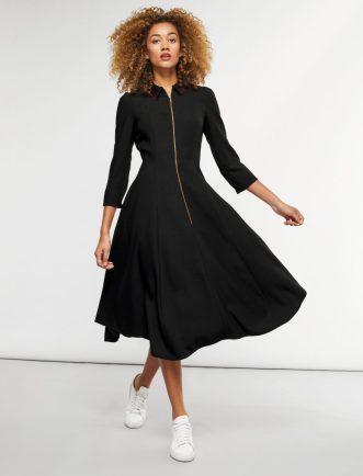 Zip Collar Midi Dress - Black/Scarlet, £320