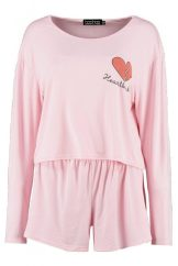 Louise Heartbreaker Long Sleeve Tee & Short, £14, Boohoo