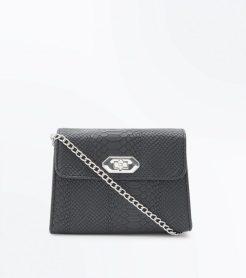 Black Faux Snakeskin Cross Body Bag, £12.99, New Look