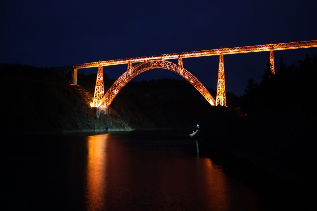 Garabit viaduct lit up at night