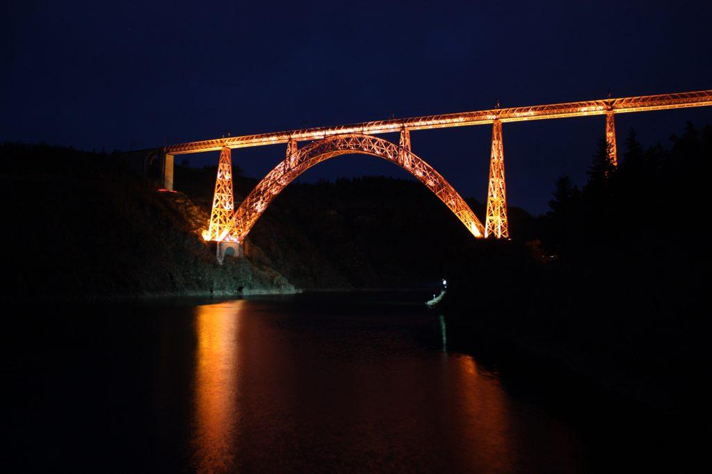 Garabit viaduct lit up at night