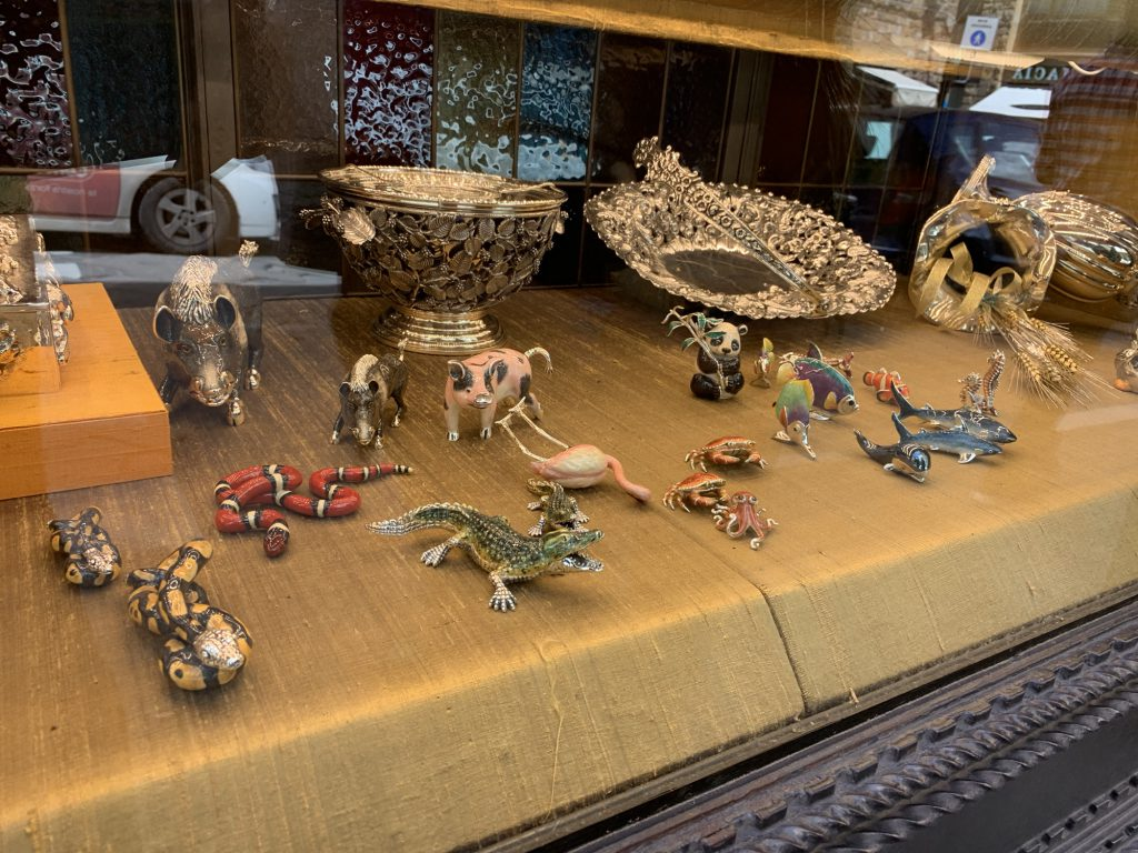 Expensive animal ornaments in one of the shops